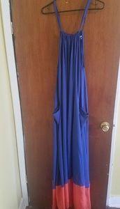 Asos curve color black blue and orange dress maxi